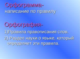 Орфограмма- написание по правилу Орфография- 1)Правила правописания слов. 2)