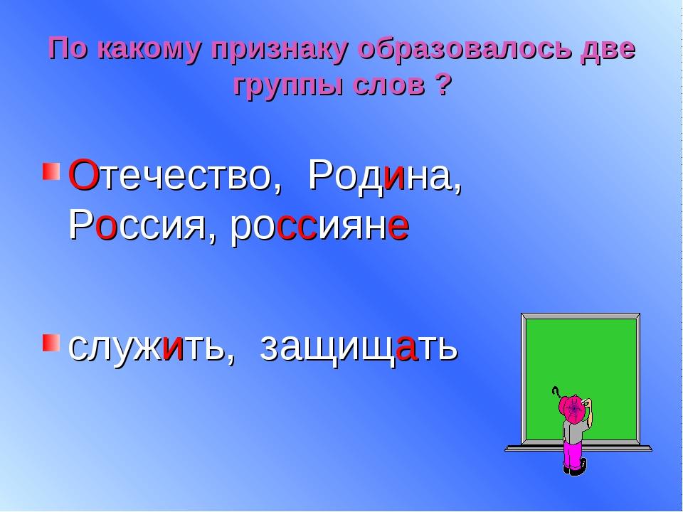 По какому признаку образовалось две группы слов ? Отечество, Родина, Россия,...