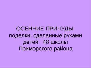 ОСЕННИЕ ПРИЧУДЫ поделки, сделанные руками детей 48 школы Приморского района
