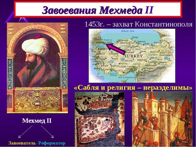 Завоевания Мехмеда II Мехмед II Завоеватель Реформатор 1453г. – захват Конст...