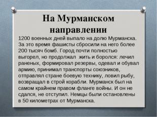 На Мурманском направлении 1200 военных дней выпало на долю Мурманска. За это