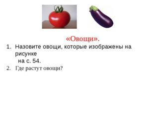 «Овощи». Назовите овощи, которые изображены на рисунке на с. 54. 2. Где раст