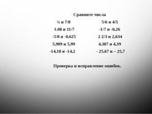 Сравните числа ¾ и 7/8 5/6 и 4/5 1.08 и 11/7 -1/7 и -0,26 -5/8 и -0,625 2 2/