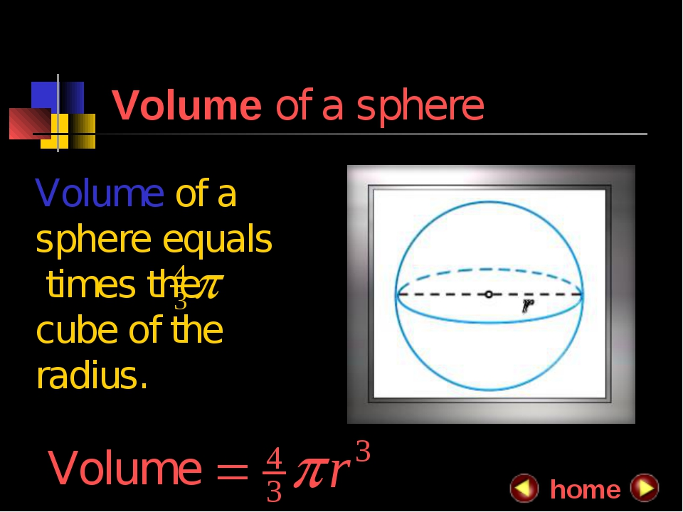 Volume of a sphere Volume of a sphere equals times the cube of the radius. h...