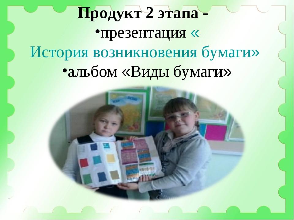 Продукт 2 этапа - презентация «История возникновения бумаги» альбом «Виды бум...