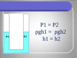 Р1 = Р2 ρgh1 = ρgh2 h1 = h2