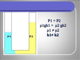 Р1 = Р2 ρ1gh1 = ρ2 gh2 ρ1 ≠ ρ2 h1≠ h2