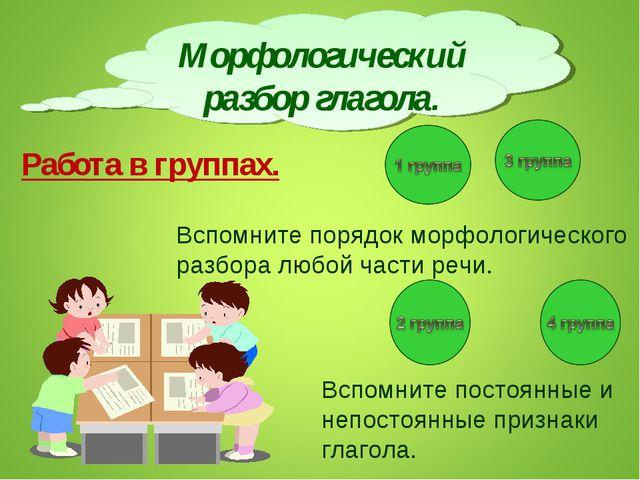 Морфологический разбор глагола. Работа в группах. Вспомните порядок морфологи...