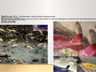 Проблема № 4: загрязнение гидросферы химикатами. Источники проблемы: спуск во