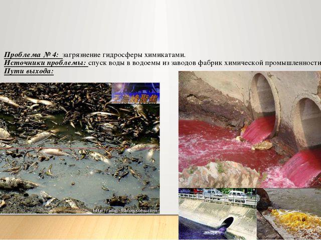 Проблема № 4: загрязнение гидросферы химикатами. Источники проблемы: спуск во...