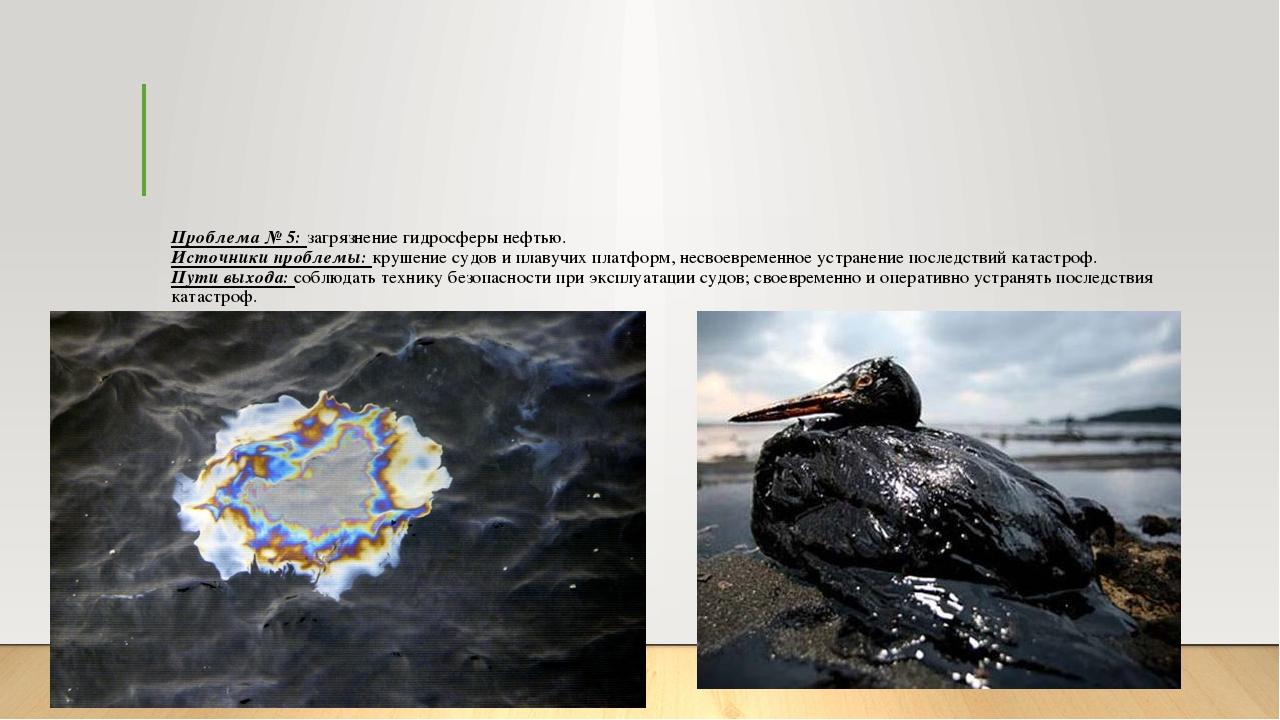 Проблема № 5: загрязнение гидросферы нефтью. Источники проблемы: крушение суд...