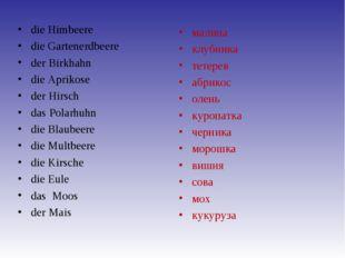 die Himbeere die Gartenerdbeere der Birkhahn die Aprikose der Hirsch das Pola