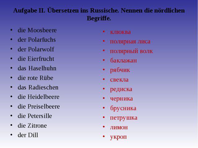 Aufgabe II. Übersetzen ins Russische. Nennen die nördlichen Begriffe. die Mo...