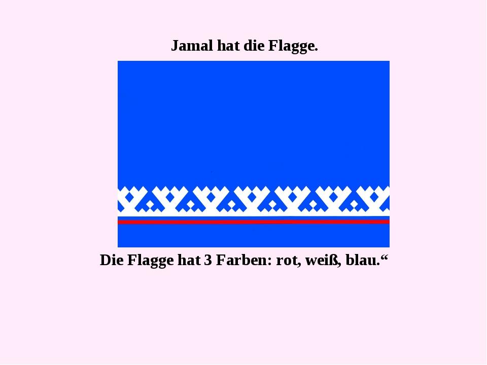 """Jamal hat die Flagge. Die Flagge hat 3 Farben: rot, weiß, blau."""""""