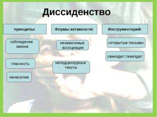 Диссиденство принципы: Формы активности: Инструментарий: принципы: ненасилие