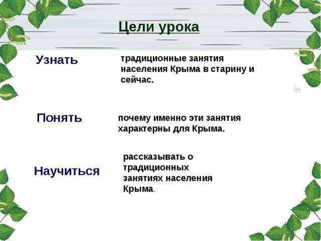 Цели урока Узнать Понять Научиться традиционные занятия населения Крыма в ста...
