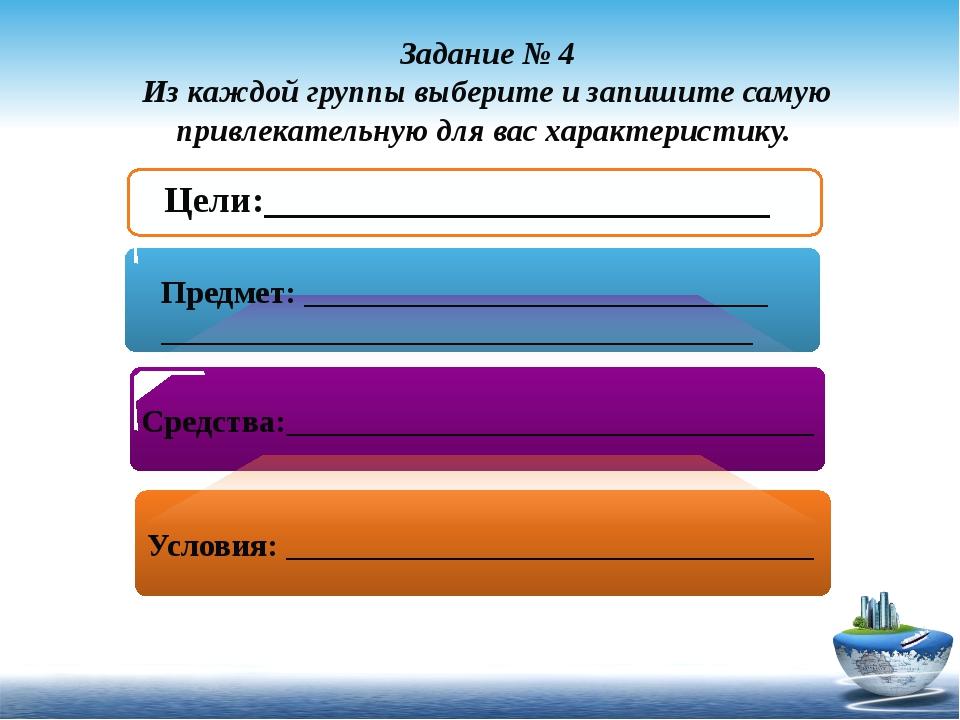 Задание № 4 Из каждой группы выберите и запишите самую привлекательную для ва...