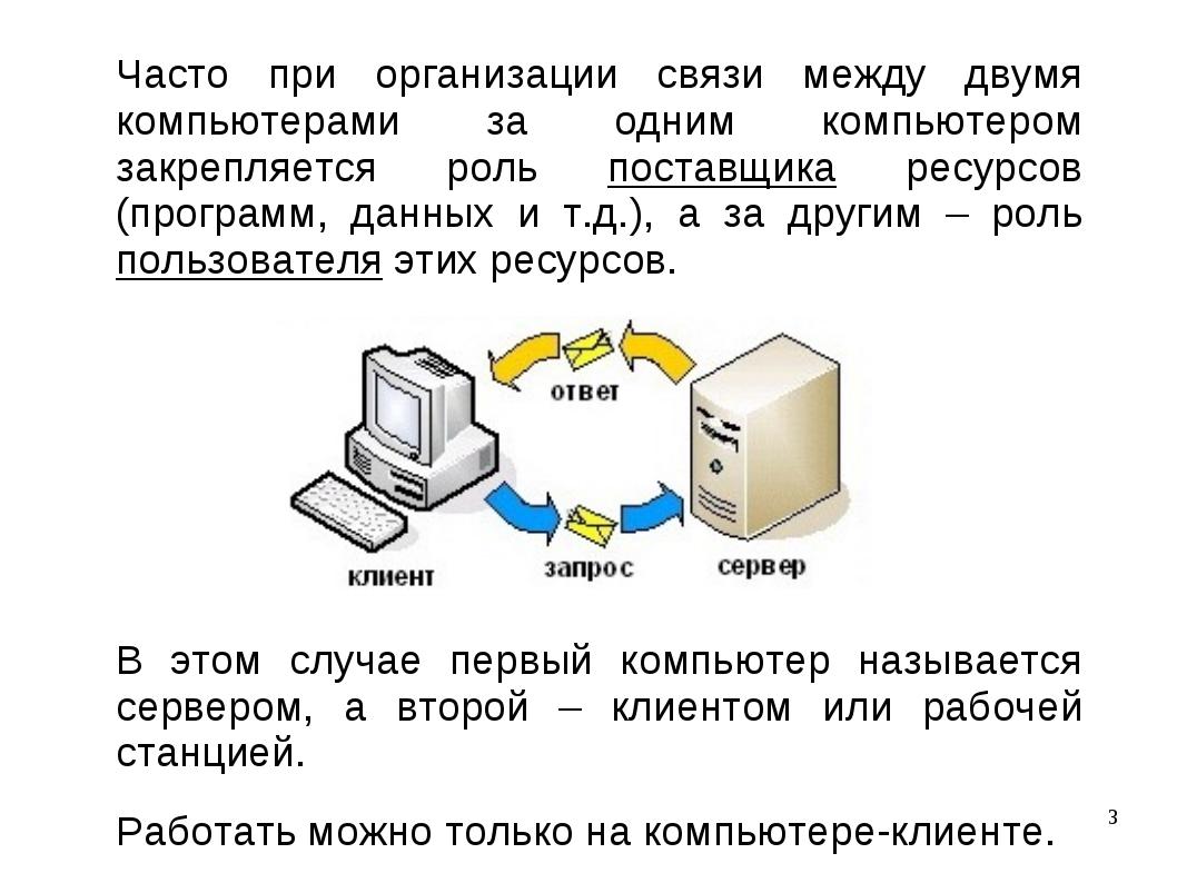 Часто при организации связи между двумя компьютерами за одним компьютером зак...