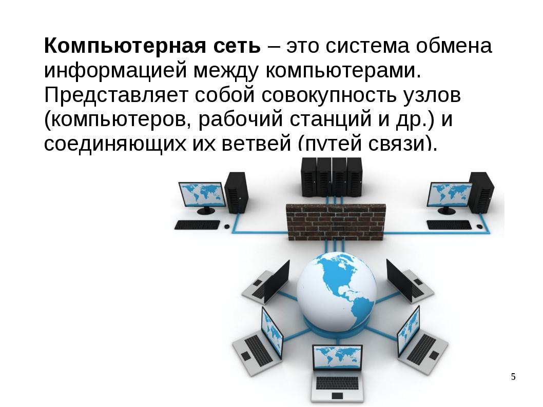 Компьютерная сеть – это система обмена информацией между компьютерами. Предст...