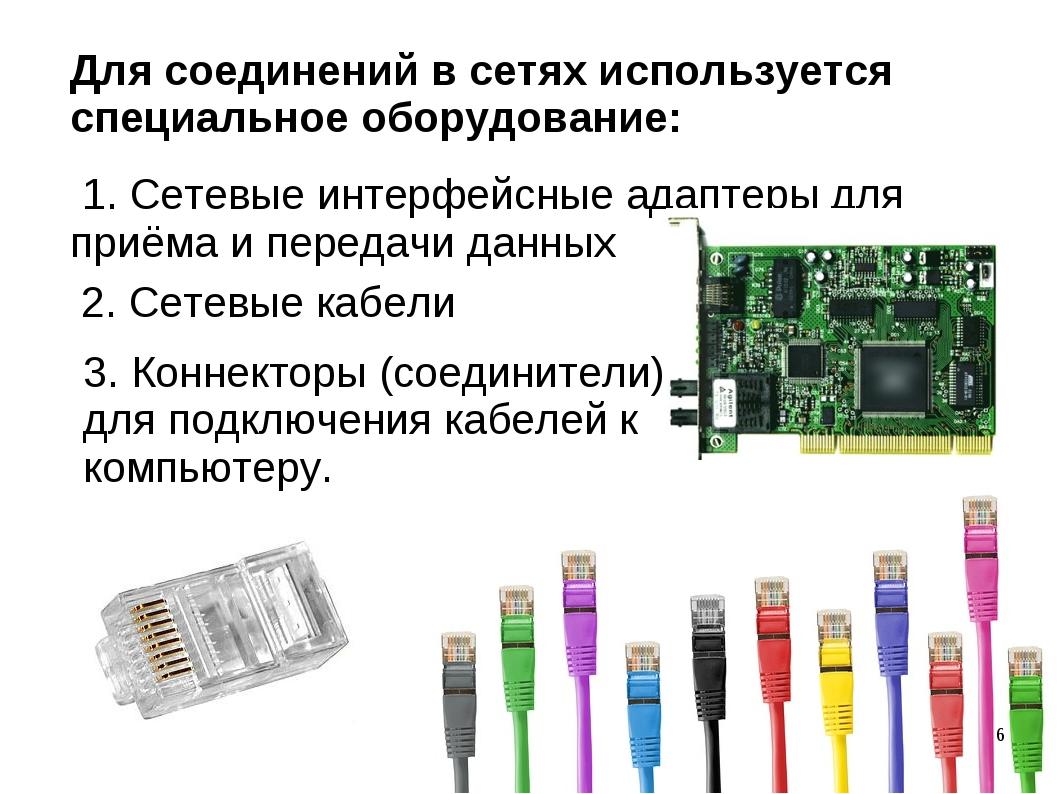 Для соединений в сетях используется специальное оборудование: 1. Сетевые инте...