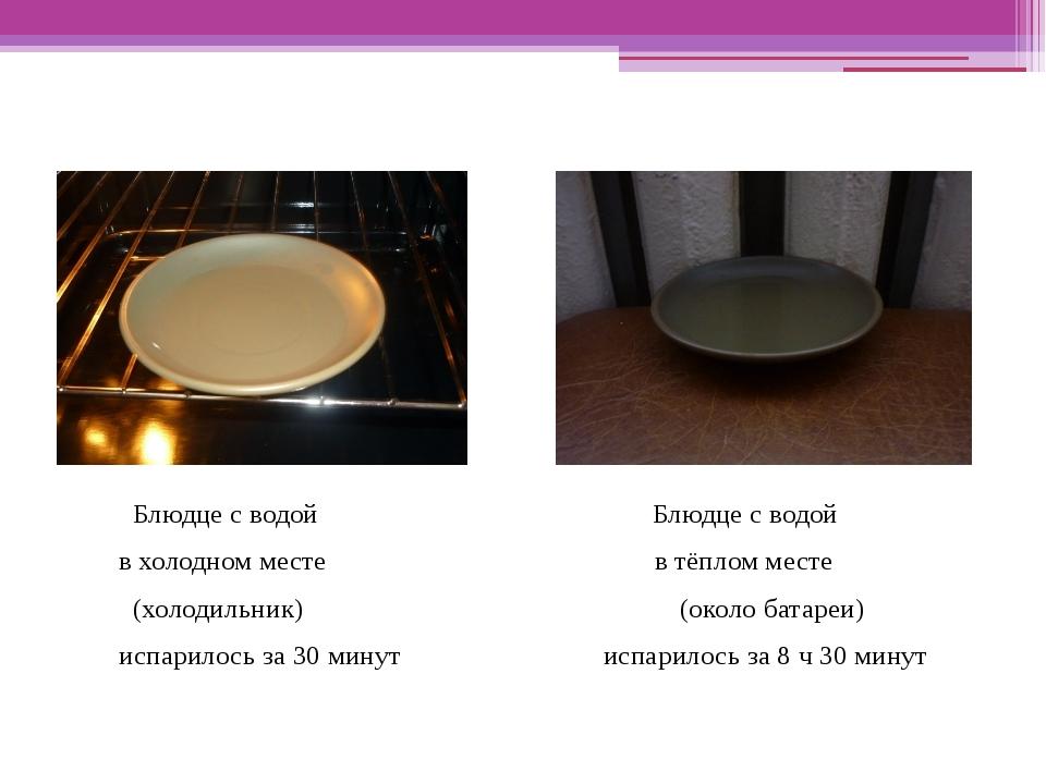 Ход работы: Блюдце с водой Блюдце с водой в холодном месте в тёплом месте (хо...