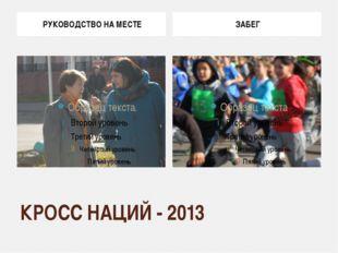 КРОСС НАЦИЙ - 2013 РУКОВОДСТВО НА МЕСТЕ ЗАБЕГ
