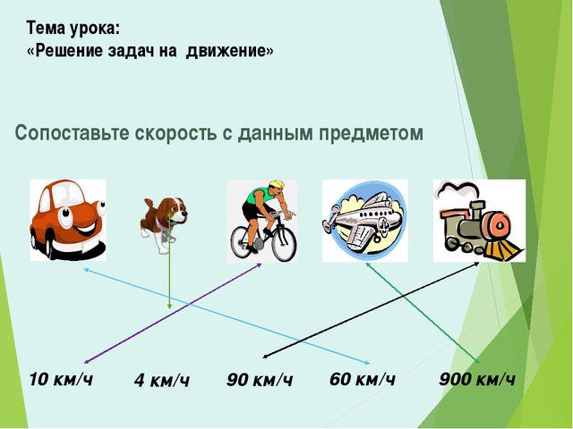Тема урока: «Решение задач на движение» Сопоставьте скорость с данным предмет...