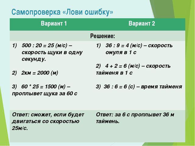 Самопроверка «Лови ошибку» Вариант 1 Вариант 2 Решение: 500 : 20 = 25 (м/с) –...