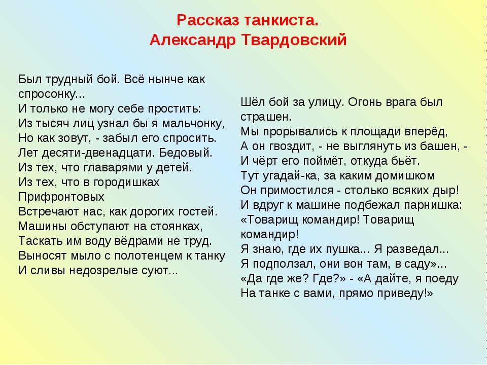 Рассказ танкиста. Александр Твардовский Был трудный бой. Всё нынче как спросо...
