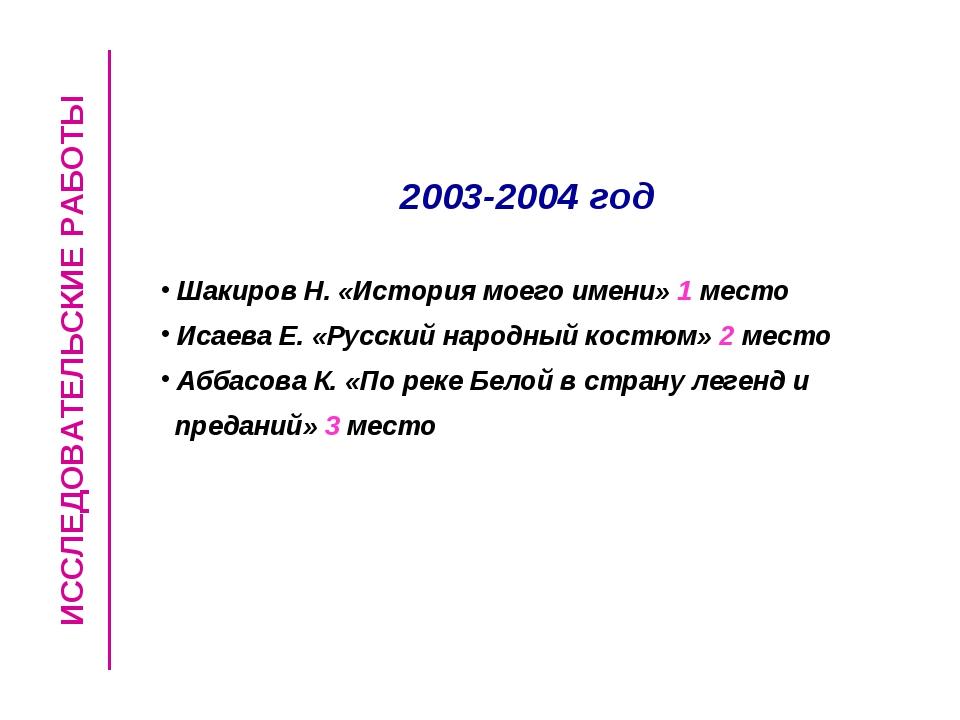 ИССЛЕДОВАТЕЛЬСКИЕ РАБОТЫ 2003-2004 год Шакиров Н. «История моего имени» 1 мес...