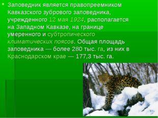 Заповедник является правопреемником Кавказского зубрового заповедника, учрежд