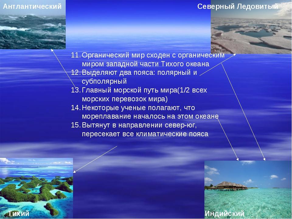 Северный Ледовитый Антлантический Тихий Индийский Органический мир сходен с о...