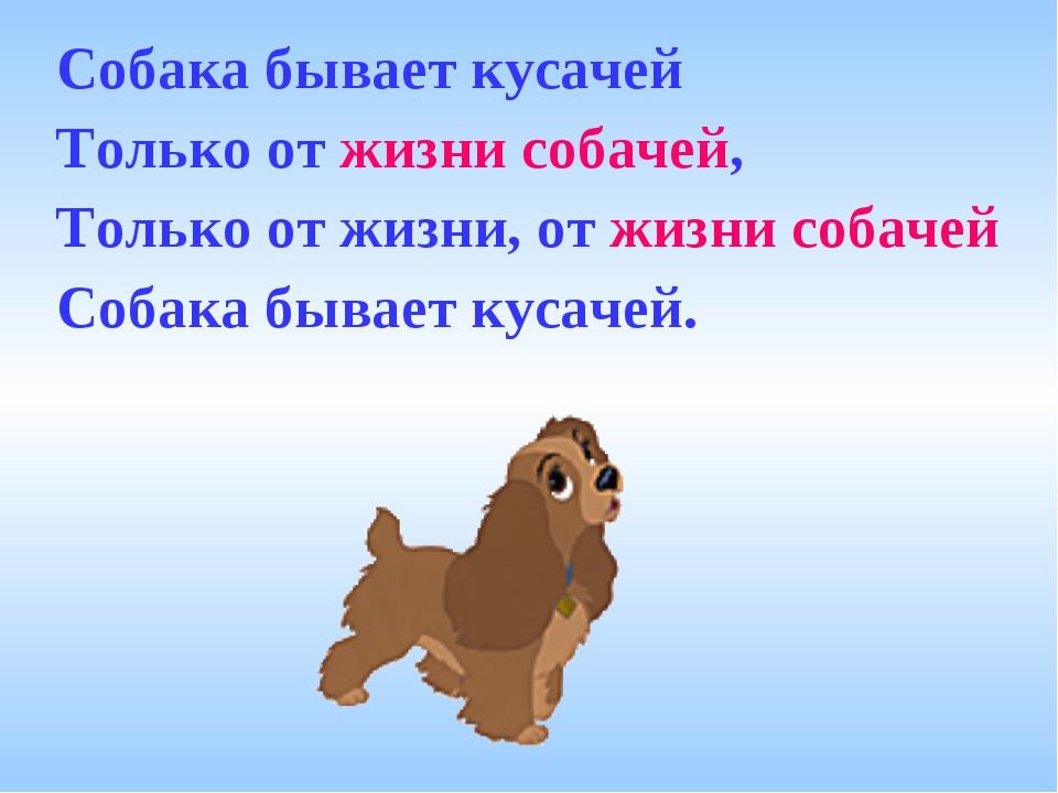 Собака бывает кусачей Только от жизни собачей, Только от жизни, от жизни соба...