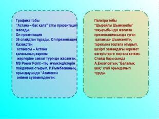 """Графика тобы """"Астана – бас қала"""" атты презентация жасады. Ол презентация 36 с"""