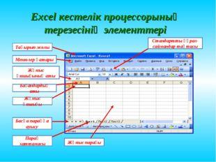 Excel кестелік процессорының терезесінің элементтері Тақырып жолы Менюлер қат