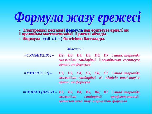 - Электронды кестедегі формула деп есептеуге арналған қарапайым математикалық...