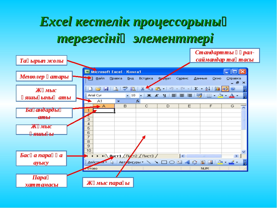 Excel кестелік процессорының терезесінің элементтері Тақырып жолы Менюлер қат...