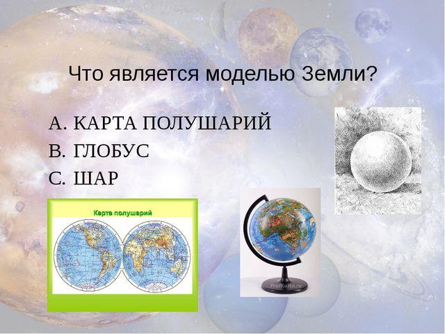 Что является моделью Земли? КАРТА ПОЛУШАРИЙ ГЛОБУС ШАР