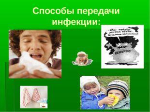 Способы передачи инфекции: