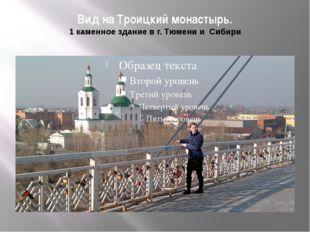 Вид на Троицкий монастырь. 1 каменное здание в г. Тюмени и Сибири