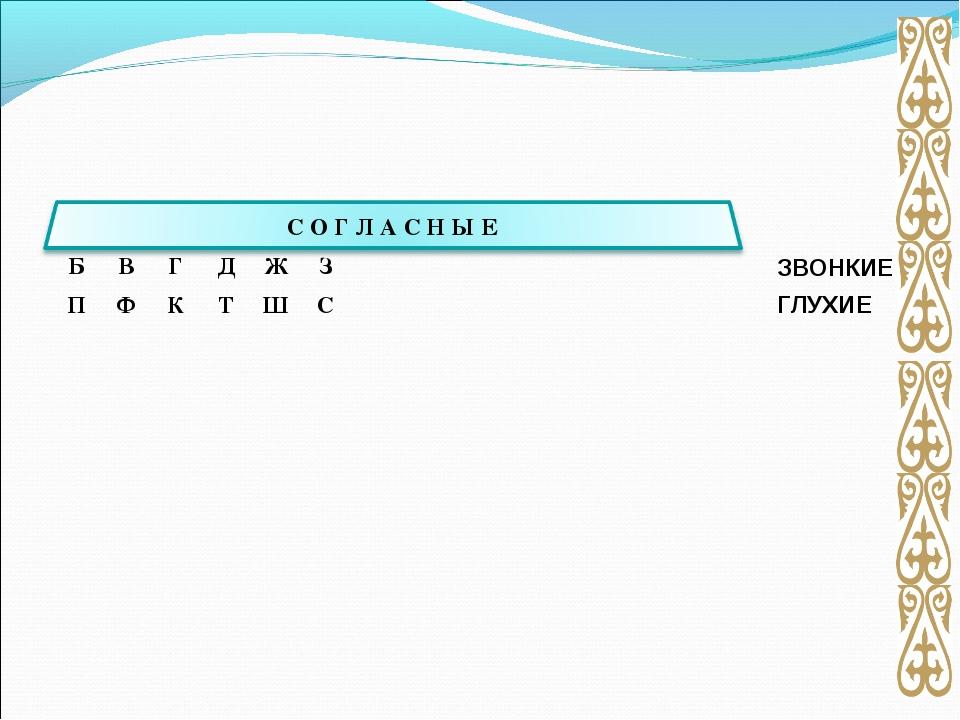 ЗВОНКИЕ ГЛУХИЕ   БВГДЖЗ ПФКТШС...