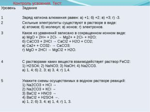 Контроль усвоения. Тест: Уровень Задание 1 Заряд катиона алюминия равен: а) +