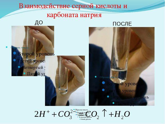 ДО ПОСЛЕ Взаимодействие серной кислоты и карбоната натрия
