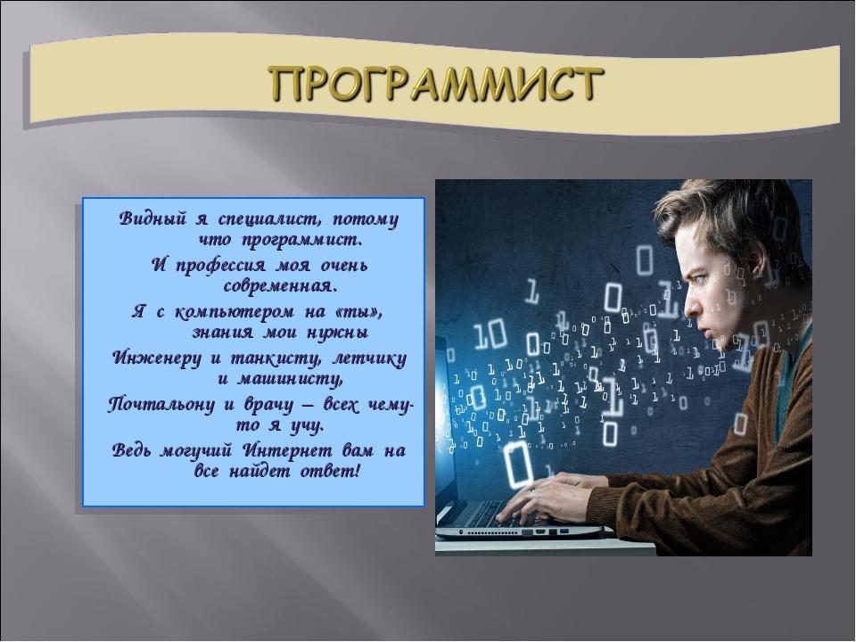 Видный я специалист, потому что программист. И профессия моя очень современна...