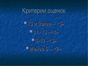 Критерии оценок 16 и более – «5» 11 -15 –«4» 6-10 –«3» Менее 6 – «2»