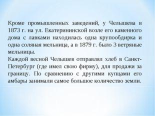 Кроме промышленных заведений, у Челышева в 1873 г. на ул. Екатерининской возл
