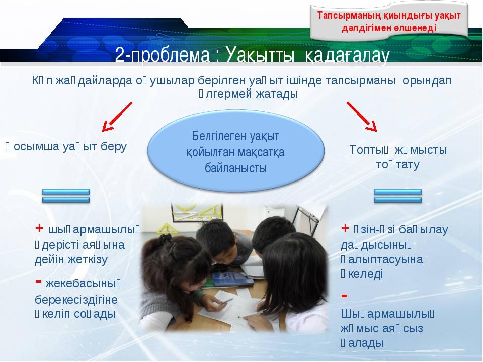 2-проблема : Уақытты қадағалау Көп жағдайларда оқушылар берілген уақыт ішінде...