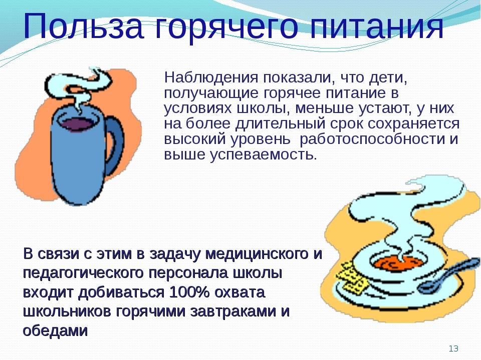 Наблюдения показали, что дети, получающие горячее питание в условиях школы,...