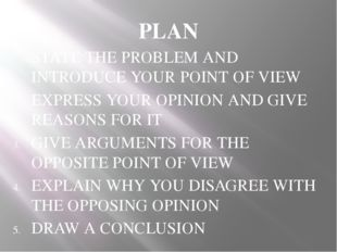 PLAN STATE THE PROBLEM AND INTRODUCE YOUR POINT OF VIEW EXPRESS YOUR OPINION