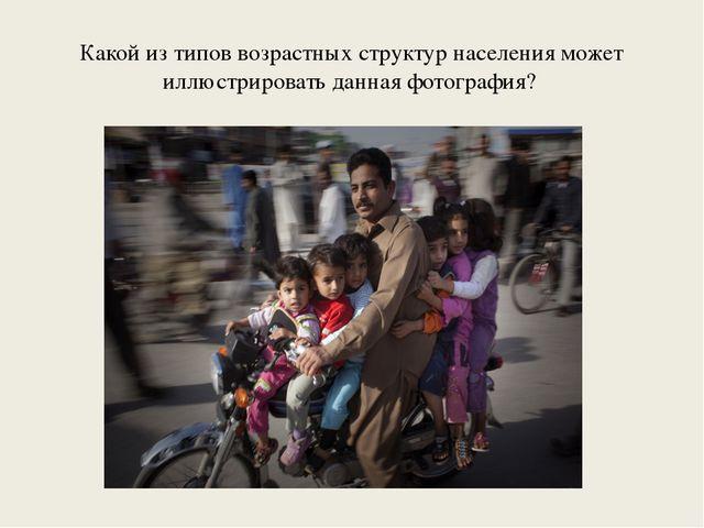 Какой из типов возрастных структур населения может иллюстрировать данная фото...
